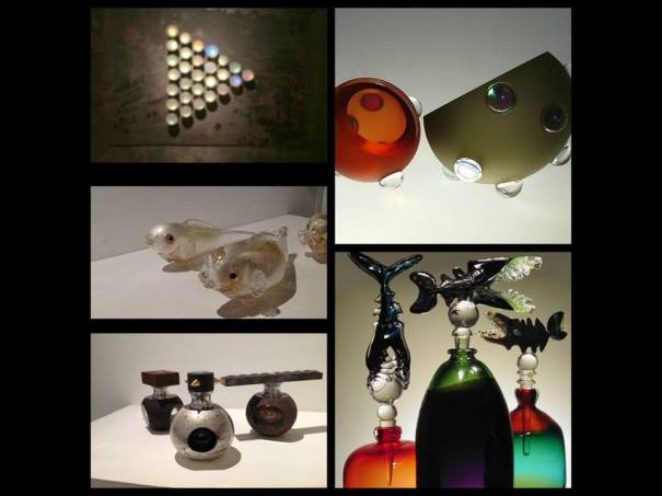 Jon Lewis hand made glass creations at Parndon Mill Gallery